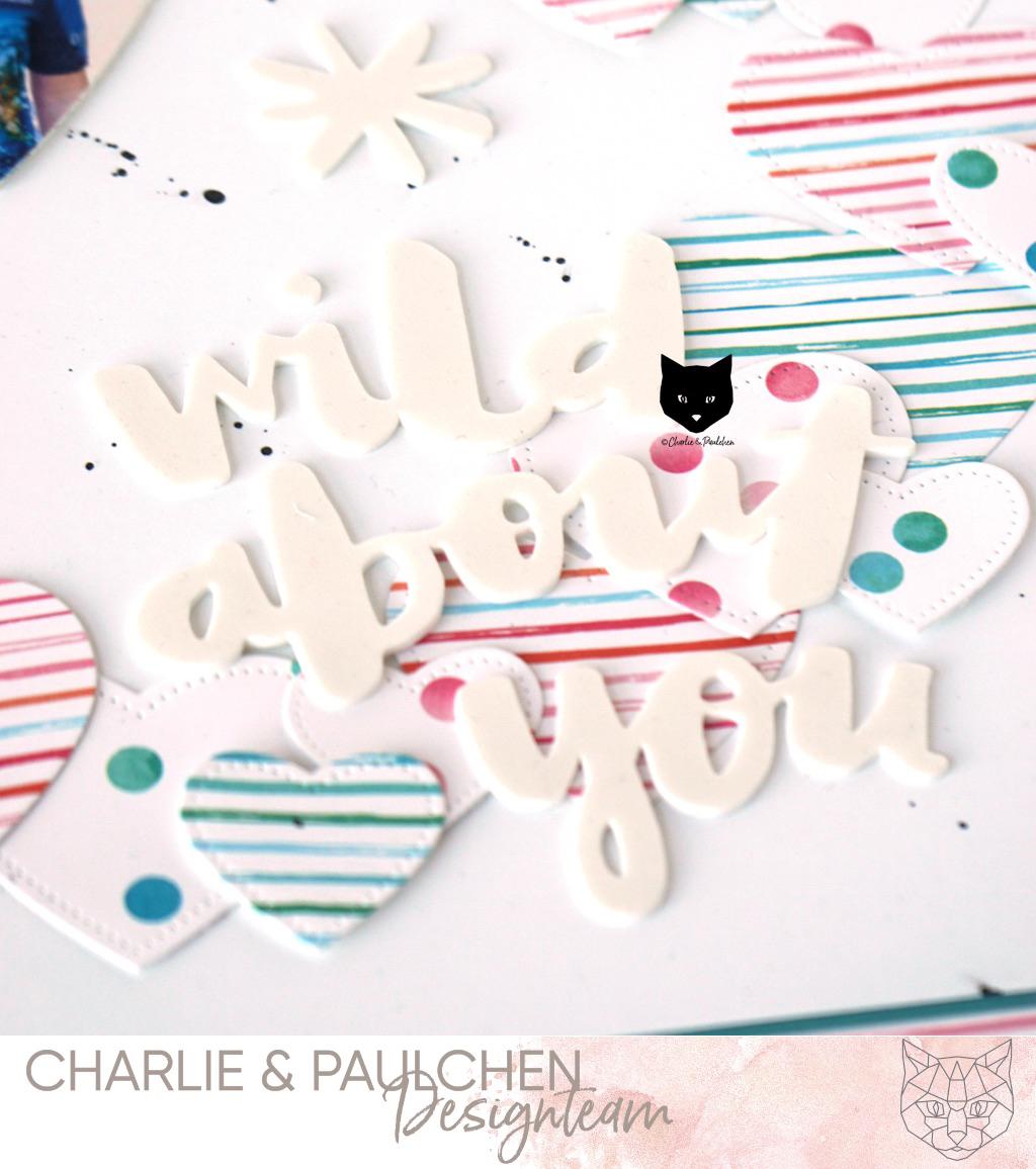 Scrapbook Layout mit Papieren und Stanzen von Charlie und Paulchen